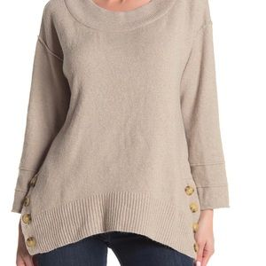 DEMOCRACY side button boat neck sweater. M